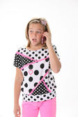 Ten Year Old Girl On the Phone — Stock Photo