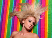 Blond Long Hair on Color Strips — Stockfoto