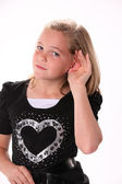 Preteen Listening or Hearing — Stock Photo