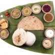 South indian lunch on banana leaf with clipping mask — Stock Photo