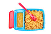 Noodles and chilli sauce — Stock Photo