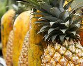 Ananas und papaya — Stockfoto