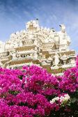 Indii świątyni wstęp i bugenwilli kwiaty — Zdjęcie stockowe