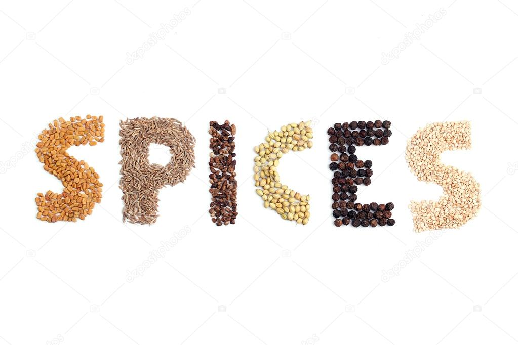 Spices word formed using a few spices — Stock Photo #12570330