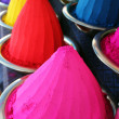Piles and mounds of colorful dye powders for holi festival & oth — 图库照片