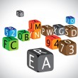 Royalty-Free Stock Vector Image: Illustration of colorful cubes of alphabets and numbers. The cub