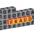 Illustration of word fraud using alphabet cubes. The graphic can — Stock Vector