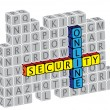 Illustration of word online security using alphabet(text) cubes. - Stock Vector