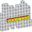 Illustration of word services using alphabet(text) cubes. The gr - Vettoriali Stock