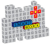 Illustration of word smartwork using alphabet(text) cubes. The g — Stock Vector