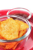 Closeup of hot, spicy & tasty baked potato chips with tomato sau — Stock Photo