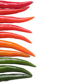 Colorful chillies border isolated on white background. These chi — Stock Photo