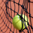 Stock Photo: Photo of new tennis ball struck in tenis net on clay court