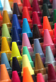 Colorful art wax crayon pencils tips for children and others arr — Stock Photo