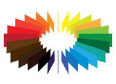 Blocks forming a color(colour) wheel/fan with brilliant, bright — Stock Vector