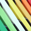 Dry colorful pastels closeup arranged together. The colors inclu — Stock Photo