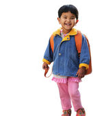 Pretty little indian pre-school girl ready to go to school in ve — Stock Photo