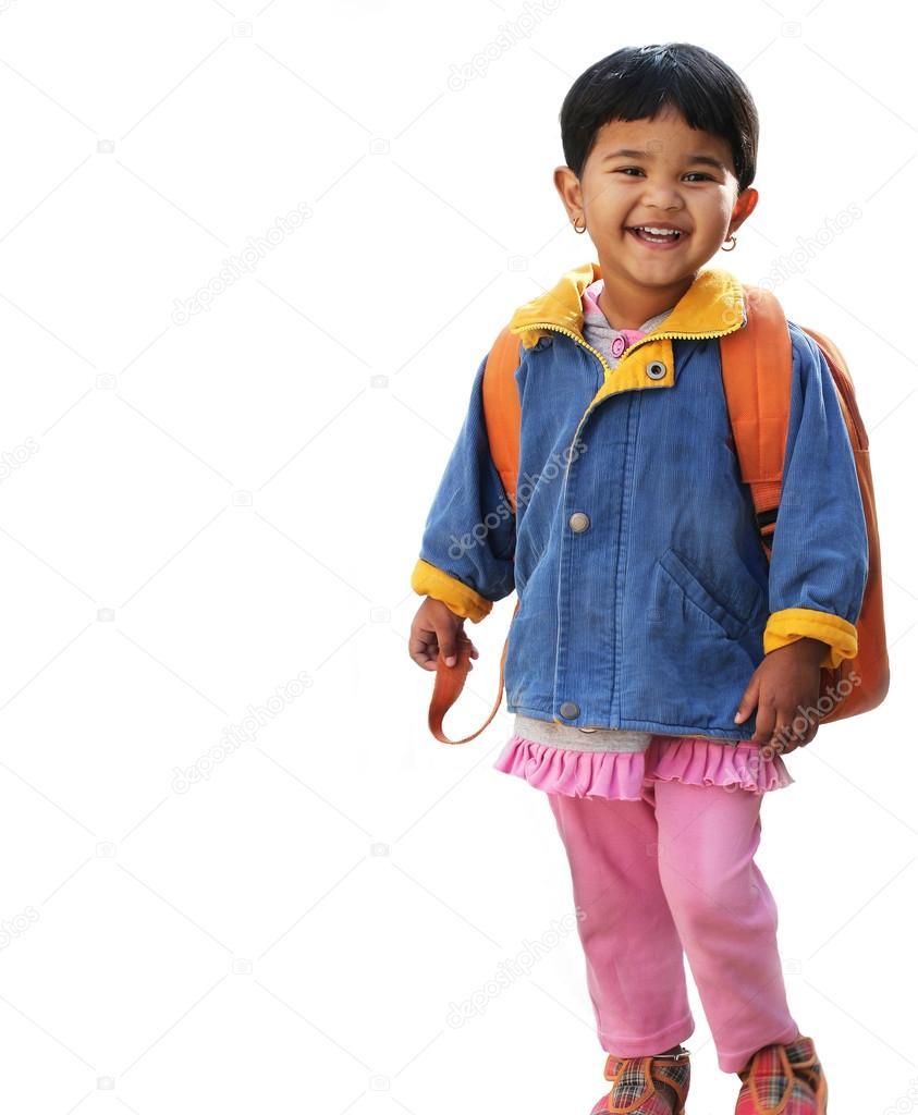 Pretty Little Indian Pre-school Girl Ready To Go To School