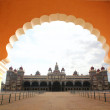 Royalty-Free Stock Photo: View of beautiful & historical mysore palace from an arch. The p