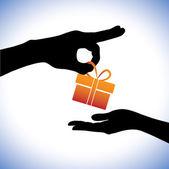 Begreppet illustration av person att ge presentförpackning till mott — Stockvektor