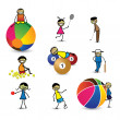 Kids(children) or playing different sports & games. The g — Stock Vector