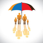 Graphic of Secure family icons & umbrella safeguard. The — Stock Vector