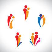 Graphic- family concept parents & children, couple together lovi — Stock Vector