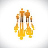 семья из четырех символов отец, мать, сын & дочь значок — Cтоковый вектор
