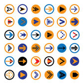 Flat abstract arrow in circles icons, symbols vector illustratio — Stock Vector