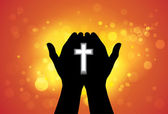 Person offering prayer or worshiping with cross in hand — Stock Vector