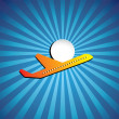 Постер, плакат: Vector graphic airliner or jet icon flying on a bright day