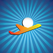 Vector graphic- airliner or jet icon flying on a bright day — Stock Vector