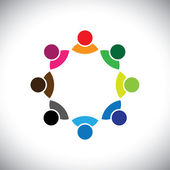 Colorful multi-ethnic corporate executive team or employee group — Vector de stock