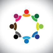 Renkli çok etnik gruptan oluşan şirket yönetim ekibi veya çalışan grubu — Stok Vektör