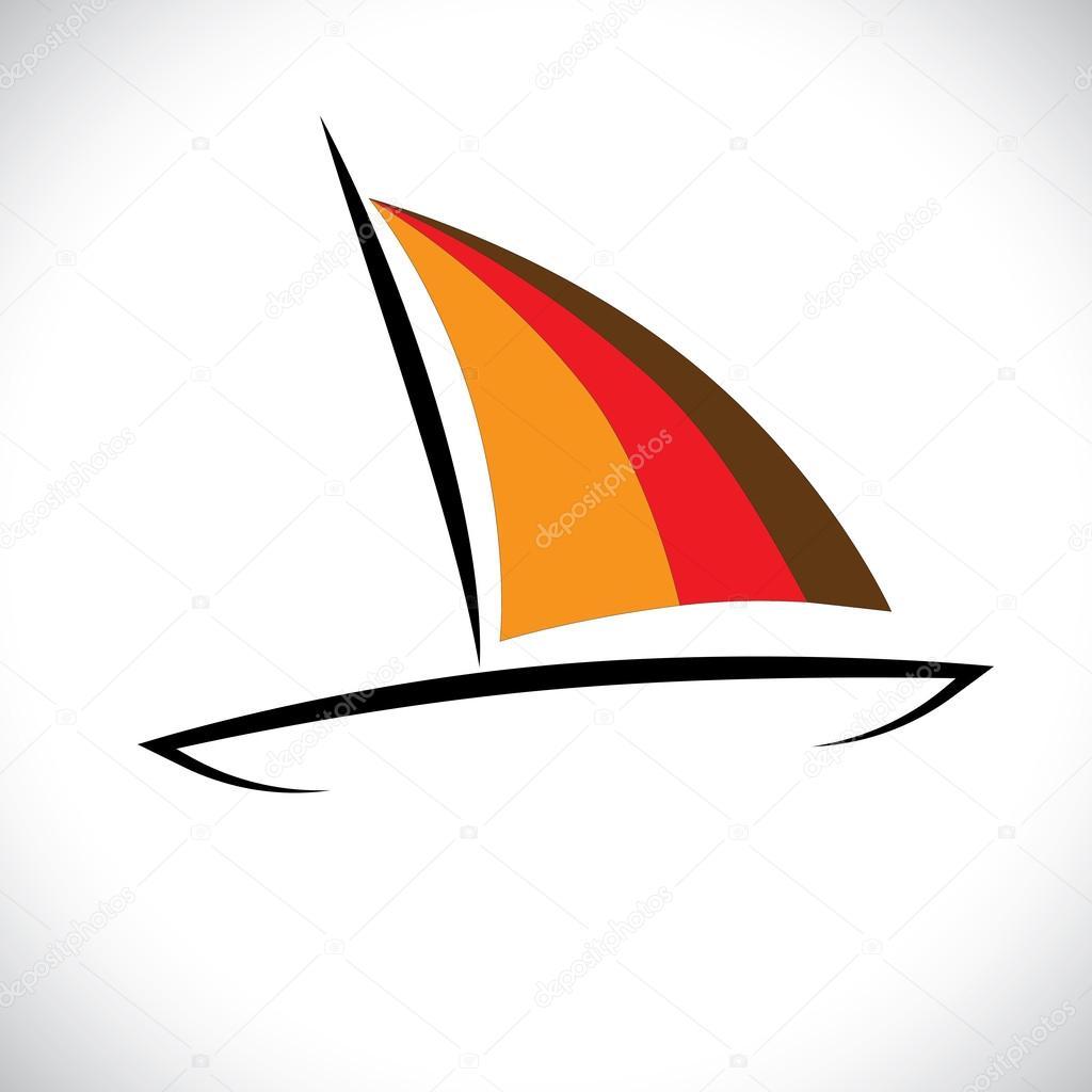 Ícone colorido de barco ou canoa navegando no gráfico de ...