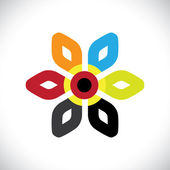 Concept vector graphic- abstract colorful floral(flower) icon(sy — Stock Vector