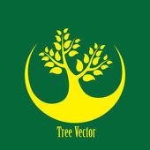 Concept vector graphic- yellow tree icon(symbol) green backgroun — Stock Vector