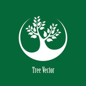 Concept vector graphic- white abstract tree icon(symbol) green b — Stock Vector