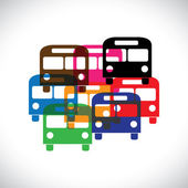 Concept vector graphic- abstract colorful transport bus icons(sy — Stock Vector
