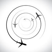 Concept vector graphic- airplane icons with its flying path — Cтоковый вектор