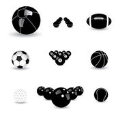 Concept vector graphic- black & white sports balls icons(symbols — Stock Vector
