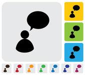 Persoon praten concept met behulp van spraak bubbels-eenvoudige vector grafiek — Stockvector