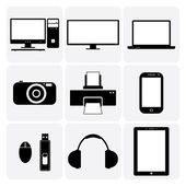 TV,computer, camera, laptop, notebook & other electronic gadgets — Stock Vector