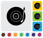 Old record player(turntable) symbol(icon)-minimalistic vector gr — Stock Vector