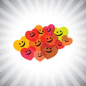 Colorful happy smiling kids as hearts- simple vector graphic — Stock Vector