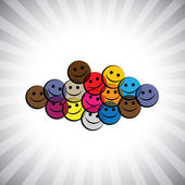 Colorful happy smiling kids(children) faces- simple vector graph — Stock Vector