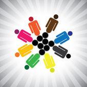 Community as cog wheels working in harmony- simple vector — Stock Vector