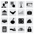 Stock Vector: Bank & finance icons(signs) related to money, wealth- vector gra