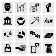 Stock Vector: Bank & money icons(signs) related to wealth,assets- vector grap