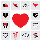 Abstract heart icons(signs) for healing, love, happiness- vector — Cтоковый вектор
